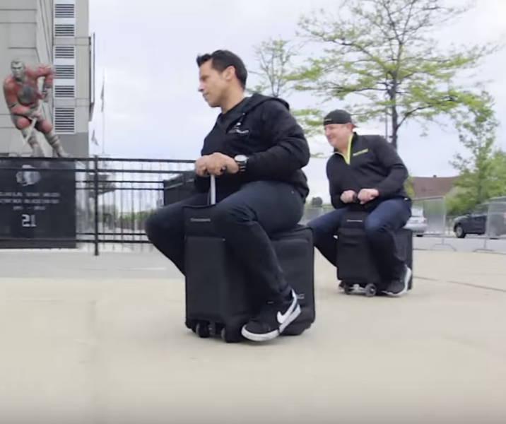 Carry on luggage you can ride video realclearfuture for Motorized ride on suitcase
